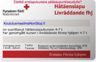 Ensiapukortti Helsinki 86 € - katso koulutuspäivät kalenterista